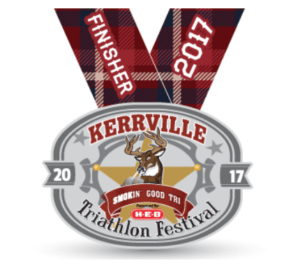 2017 Kerrville Tri Finisher Basno badge.