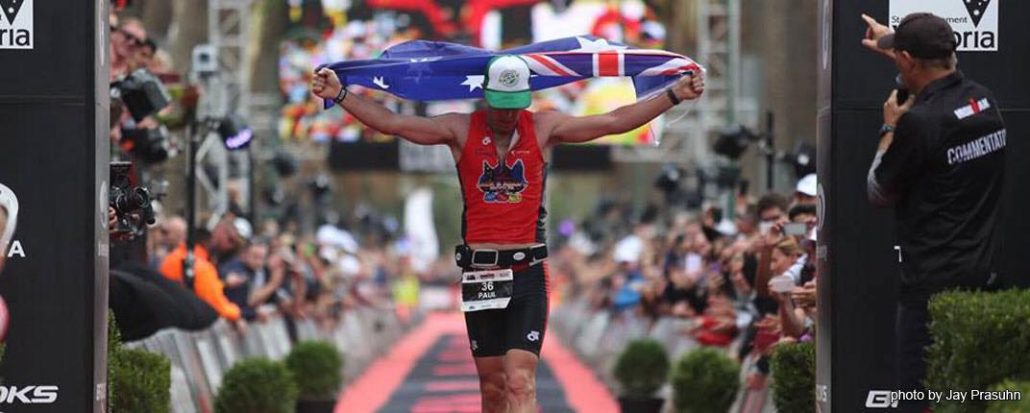 "Paul ""Barny"" Mathews finish image at Melbourne Ironman triathlon."