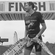 2019 Jack's Generic Tri champion, Pablo Gomez, cross the 17th annual JGT finish line.