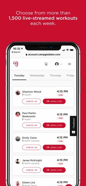 Camp Gladiator Workout App - with workouts for Triathlon Training
