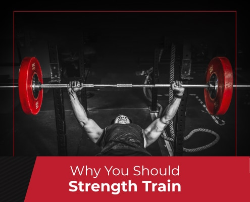 Man prepares to workout with the bench press. Text on design reads Why You Should Strength Train. Learn more at https://jacksgenerictri.com/2020/10/include-strength-training/