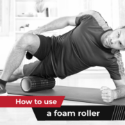 A person foam rolls his left leg while resting his left elbow on a yoga mat. Text on design reads How to Use a Foam Roller. Learn more at https://jacksgenerictri.com/2020/12/4-effective-foam-rolling-tips/