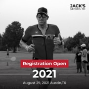 Male participant smiles for the camera while running during Jack's Generic Tri. Text on design reads Registration Open for 2021 Jack's Generic Triathlon. Learn more at https://jacksgenerictri.com/2021/01/2021-jacks-generic-triathlon/