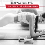 Woman holds the plank position on her mat. Text on design reads Build Your Home Gym. Read more at https://jacksgenerictri.com/2021/03/home-gym/