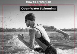 A triathlete enters water getting ready for the swim. Text on design reads How to Transition from the Pool to Open-Water Swimming. Read more at https://jacksgenerictri.com/2021/04/from-pool-to-open-water-swimming/